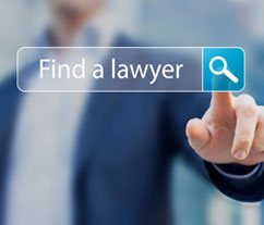 A search bar saying 'Find a lawyer' with a person stood behind