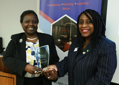 CILEx President Millicent Grant receiving a thank you award